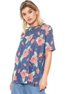 Camiseta Cantão Caju E Flores Azul
