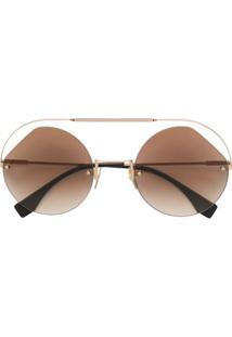 9d3d1ce91 ... Fendi Eyewear Óculos De Sol Redondo - Dourado