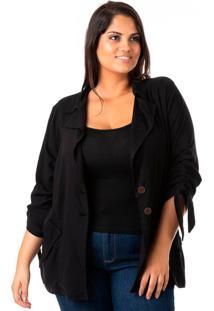 Blazer Feminino Alongado Em Linho Plus Size - Confidencial Extra - Kanui