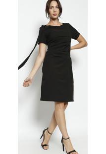 Vestido Com Franzidos & Tiras- Pretoenna