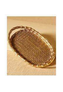 Bandeja Decorativa Texturizada Cor: Dourado Envelhecido - Tamanho: Único