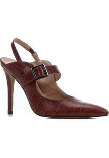 Scarpin Couro Shoestock Salto Alto Croco Bico Fino Fivela - Feminino-Tabaco
