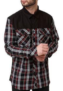 Camisa Flanela Manga Longa Masculina Occy Preto/Vermelho