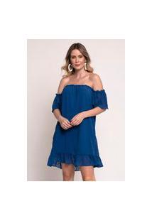 Vestido Bisô Ciganinha Curto Azul