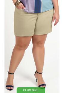 Shorts Em Sarja Com Bolso Bege
