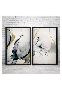Quadro Love Decor Com Moldura Chanfrada Abstrato Preto - Grande