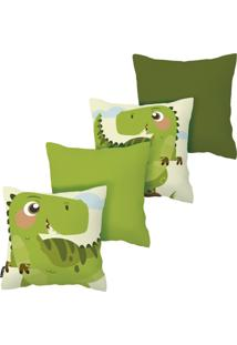 Kit Com 4 Capas Para Almofadas Infantis Dinossauro Armonizzi