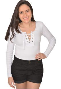 Body Urban Lady Canelado Manga Longa Branco