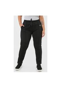 Calça Calvin Klein Jeans Reta Amarração Preta