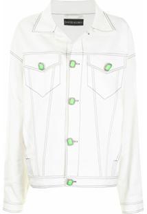 David Koma Jaqueta Jeans Oversized Com Detalhe De Costura - Branco