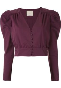 Framed Top Cropped Lotus - Roxo
