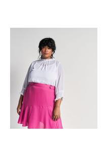 Blusa Em Chiffon Com Regatinha Interna E Lastex Nos Punhos Curve & Plus Size   Ashua Curve E Plus Size   Branco   G