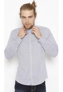Camisa Fit Listrada - Azul & Branca - Colccicolcci