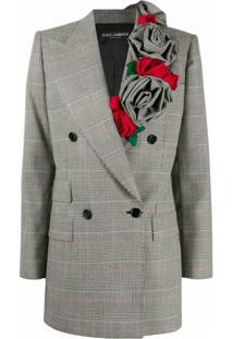 Dolce & Gabbana Blazer Glen Xadrez Com Aplicação De Rosa - Branco