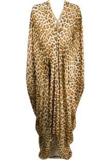 Roberto Cavalli Vestido Com Estampa De Leopardo - Marrom