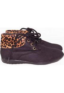 Bota Gomes Shoes Onça Em Camurça Feminina - Feminino-Preto