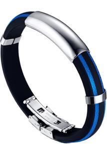 Pulseira Divanet Silicone Azul E Preto