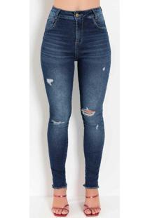 Calça Jeans Levanta Bum Bum Com Puídos Sawary