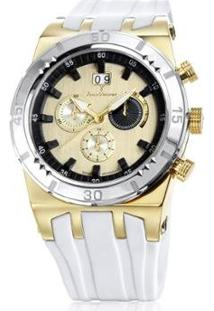 Relógio Jean Vernier Caixa Aço Pulseira Silicone Feminino - Feminino-Dourado