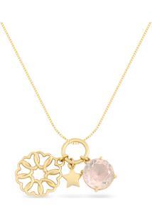Pingente Amor Ouro Rosã© E Quartzo Rosa