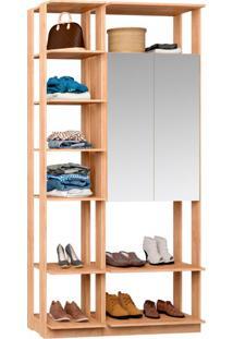 Guarda-Roupa Solteiro Modulado Clothes I Com Espelho 2 Pt Carvalho Mel