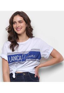Camiseta Lança Perfume Descolada Faixa Feminina - Feminino-Off White