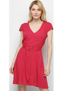 Vestido Cantão Evasê Curto Faixa Cinto - Feminino-Vermelho