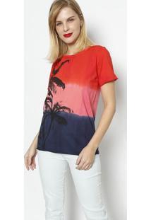 Camiseta Degradê Coqueiro- Vermelha & Azul Marinhodimy