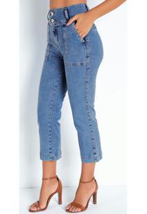 Calça Jeans Cropped Com Bolsos Frontais Sawary