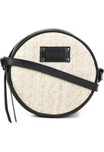 Bolsa Santa Lolla Mini Bag Palha Feminina - Feminino-Bege+Preto