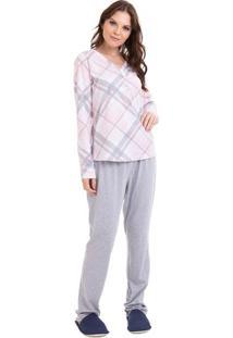 Pijama Longo Xadrez Com Botões Feminino Com Algodão Adulto