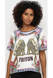 Camiseta Triton Camuflada Manga Curta Feminina - Feminino-Estampado