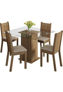 Sala De Jantar Madesa Base De Madeira Com Tampo De Vidro E 4 Cadeiras Magda - Rustic/ Pérola