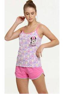 Pijama Feminino Estampa Minnie Alças Finas Disney