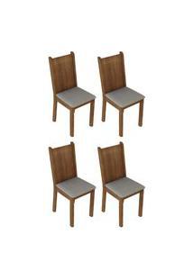 Kit 4 Cadeiras 4290 Madesa Rustic/Pérola Marrom