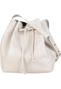 Bolsa Couro Shoestock Bucket Lisa Feminina - Feminino-Off White