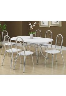 Mesa 1507 Branca Cromada Com 6 Cadeiras 182 Fantasia Branco Carraro