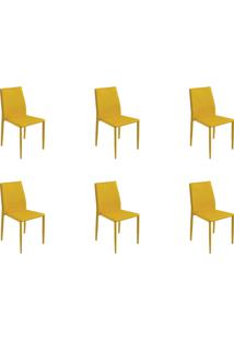 Kit 06 Cadeiras Amanda Pvc Amarela Rivatti