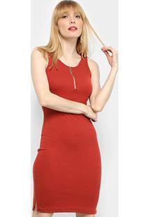 Vestido Tubinho Lecimar Zíper - Feminino-Vermelho
