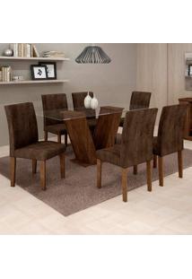 Conjunto De Mesa De Jantar Com 6 Cadeiras Classic Veludo Chocolate Marrom