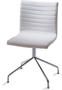 Cadeira Quiz Slim Assento Estofado Linho Branco Com Base Cromada - 46892 - Sun House