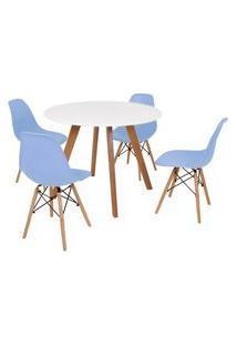 Mesa Inês 100Cm Branca + 4 Cadeiras Eames Eiffel - Azul Claro