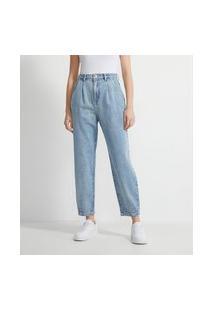 Calça Baggy Jeans Sem Estampa E Com Pregas   Blue Steel   Azul   36