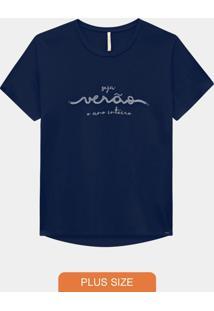 Blusa Plus Size Malha Seja Verão Azul