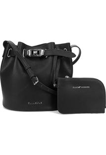 Bolsa Ellus Bucket Bag Military Feminina - Feminino-Preto