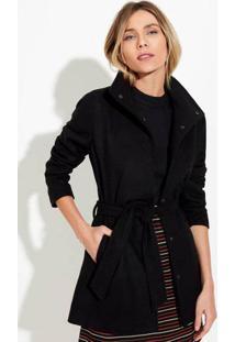 Casaco Trench Coat Feminino Em Lã Com Faixa
