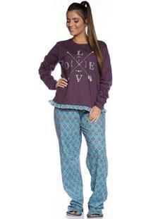 Pijama Longo De Inverno Villa Enzo Feminino - Feminino-Roxo