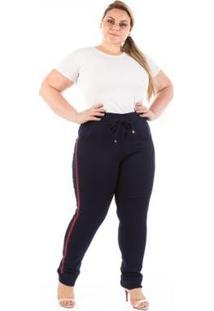 d7a8b90cc Calça Confidencial Extra Plus Size Jogger Listra - Feminino-Marinho