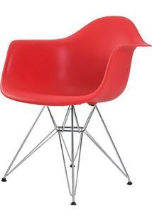 Cadeira Eames Eiffel Com Braco Polipropileno Cor Vermelho Base Cromada - 44924 - Sun House