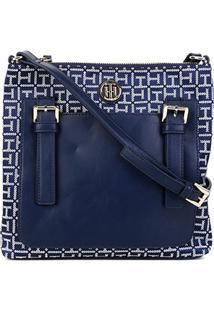 Bolsa Tommy Hilfiger Flat Monograma Feminina - Feminino-Azul